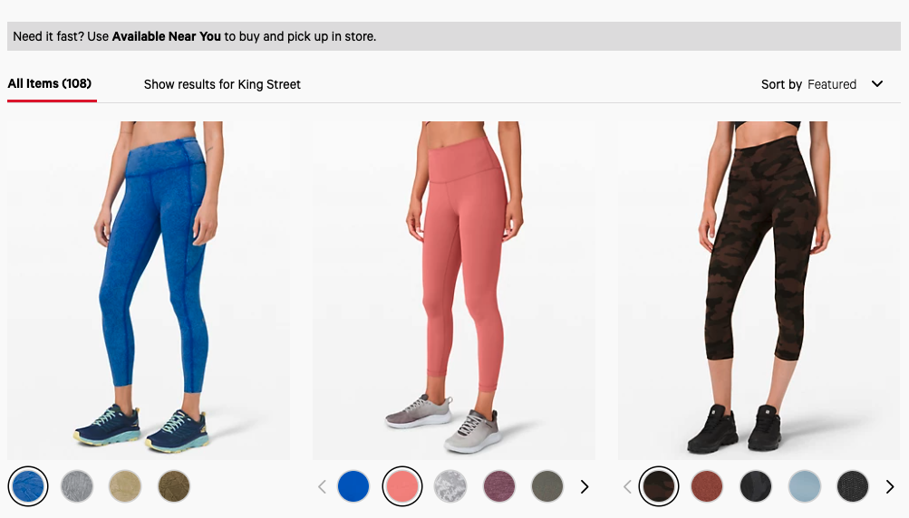 lululemon sort by in-store availability